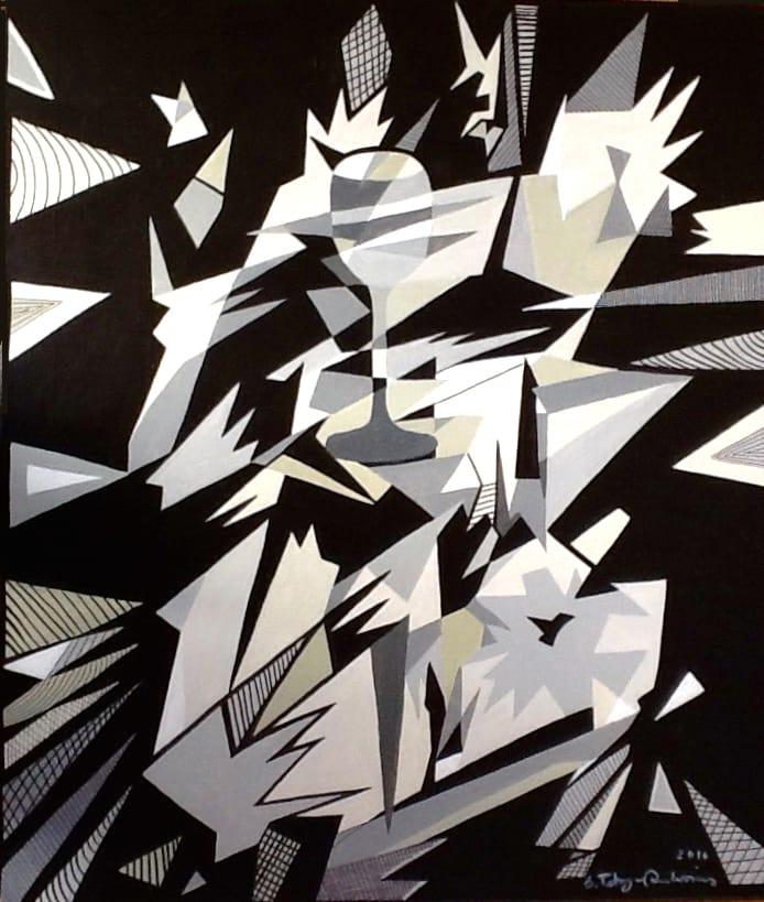 Ilse Petry-Ambrosius: Der Kelch (und doch irgendwie alles zerbrechlich) (Acryl auf Leinwand, 70x60 cm)