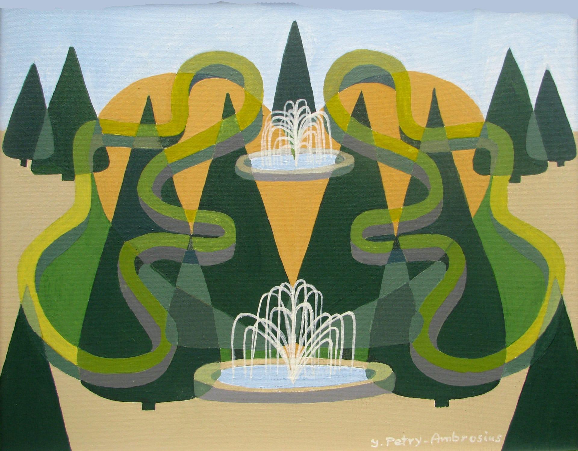 Ilse Petry-Ambrosius: Klostergarten Kamp-Lintfort (Acryl auf Leinwand, 50x60 cm)