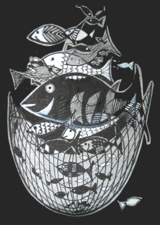 Ilse Petry-Ambrosius: Fischfang (Zeichnung auf Japanpapier)